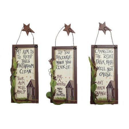 Outhouse Etiquette Bathroom Signs (Set of 3) Outhouse Bathroom Decor