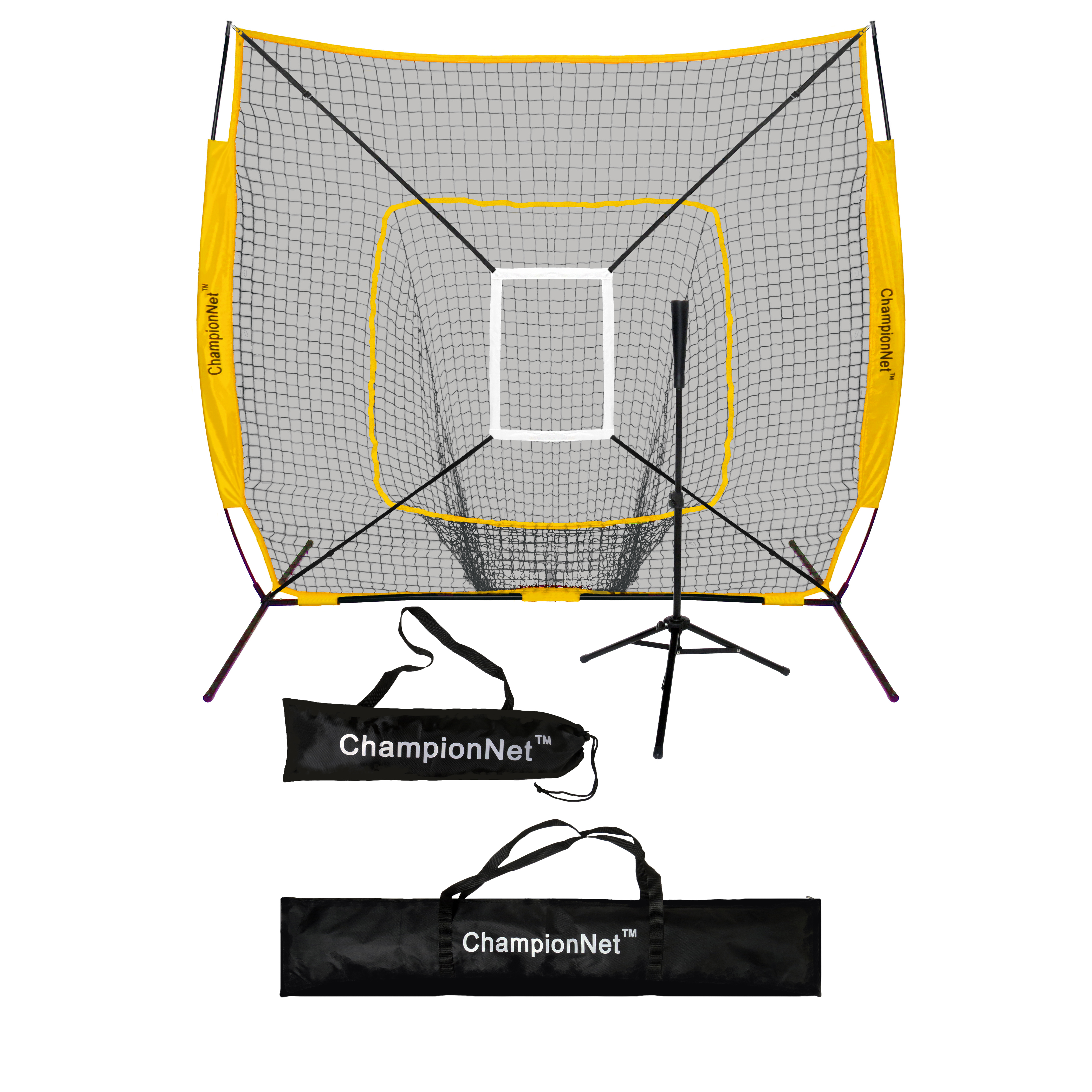 ChampionNet 7x7 Baseball/Softball Training Hitting Net & Frame Power Bow Style Net w/ Carry Bag + Batting Tee + Strike Zone Target Attachment - YELLOW