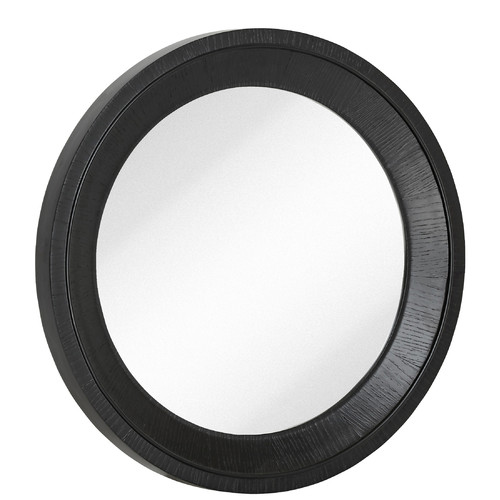 Majestic Mirror Round Black With Natural Wood Grain Circular Glass Shaped Hanging Wall Mirror
