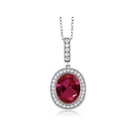 5.41 Ct Oval Red Created Ruby 925 Sterling Silver Pendant