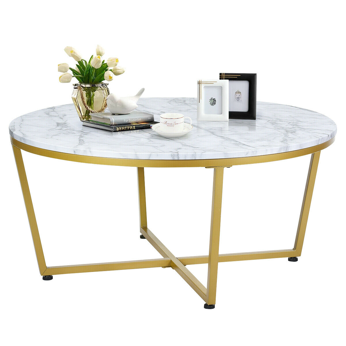 Gymax Modern Round Coffee Table Faux Marble Top W Gold