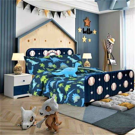 TWIN DINOSAUR BLUE BOYS BEDDING SET, Beautiful Microfiber Comforter With Furry Friend and Sheet Set (6 Piece Kids Bed In A Bag) Sports Bed Boys Bedding