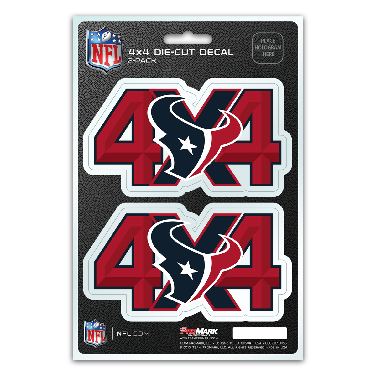 Houston Texans 4X4 Team Decal 2-Pack Set - No Size