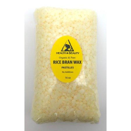RICE BRAN WAX ORGANIC FLAKES VEGAN BEADS VEGETABLE PASTILLES PURE 16 OZ, 1 LB