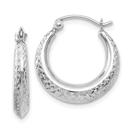 14kt White Gold Textured Hoop Earrings Ear Hoops Set Fine Jewelry Ideal Gifts For Women Gift Set From Heart