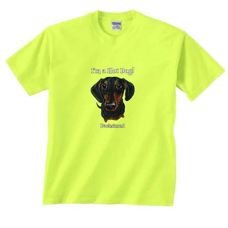 I'm a Hot Dog! Funny Fat Head Black & Tan Dachshund Dog T-Shirt - Hotdog Funny