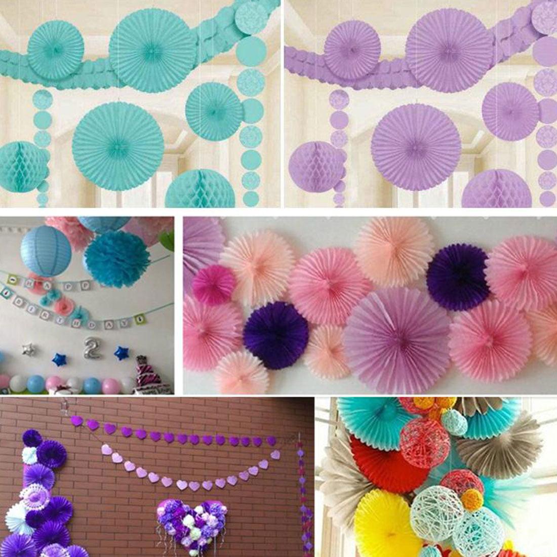 Paper Hollow Out Design Folding Fan Flower Purple for Party Wedding Home Decor - image 1 de 4
