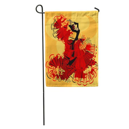 KDAGR Flamenco Abstract Yellow and Spanish Dancer in Red Black Dress Vintage Beauty Garden Flag Decorative Flag House Banner 12x18 inch - Black Red And Yellow Flag