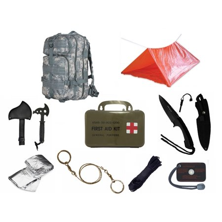 Ultimate Arms Gear Level 3 Assault Molle Acu Terrain Digital Backpack Kit  Signal Mirror  Polarshield Blanket  Knife Fire Starter  Wire Saw  Axe  50 Foot Paracord  Camping Tube Tent   First Aid Kit