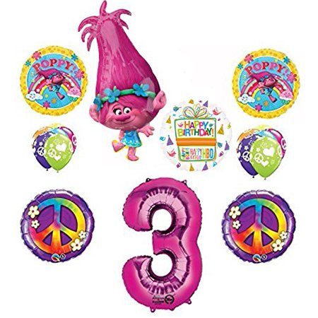 TROLLS 3rd Birthday Party Supplies Poppy Peace Balloon Bouquet Decorations (Peace Decorations)
