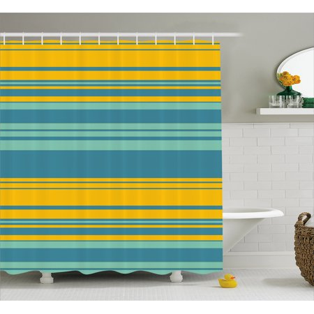 Yellow And Blue Shower Curtain Horizontal Abstract Color Stripes Lines Simplistic Modern Art Print