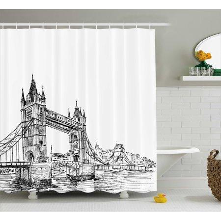 Vintage Shower Curtain, Old Fashion London Tower Bridge Sketch Architecture British UK Scenery Art Print, Fabric Bathroom Set with Hooks, Black White, by Ambesonne - Sketch London Halloween