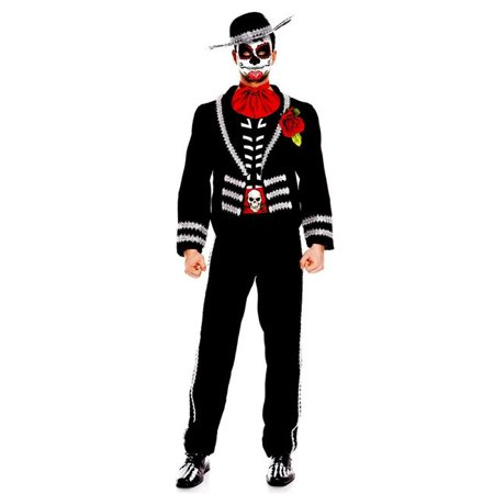 Music Legs 76631-L 6 Piece Mariachi Vest & Pants with A Skeleton Skull Belt, Hat, Mask & Scarf, Large