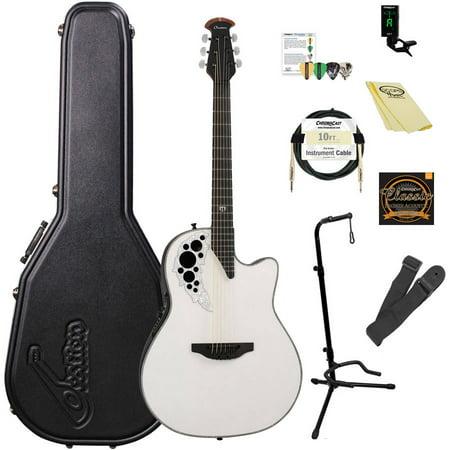 Artist Signature Guitars - Ovation Melissa Etheridge Signature Elite 2078ME-6P Acoustic-Electric Guitar (Pearlescent White) with ChromaCast Accessories