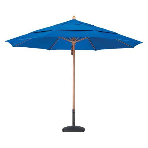 11' FGlass Market Umbrella Pulley Open DV Marenti Wood/Sunbrella/Natural