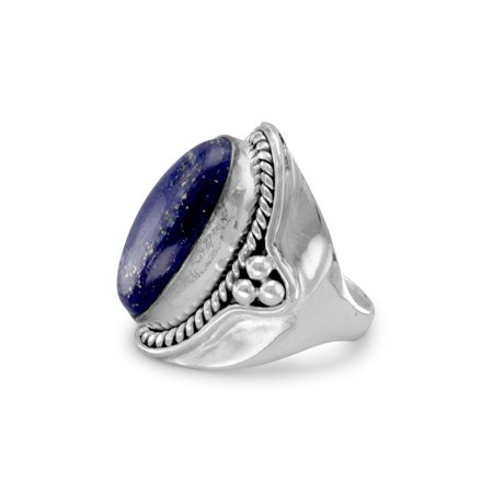 - Lapis Lazuli Rope and Bead Polished Band Sterling Silver Ring