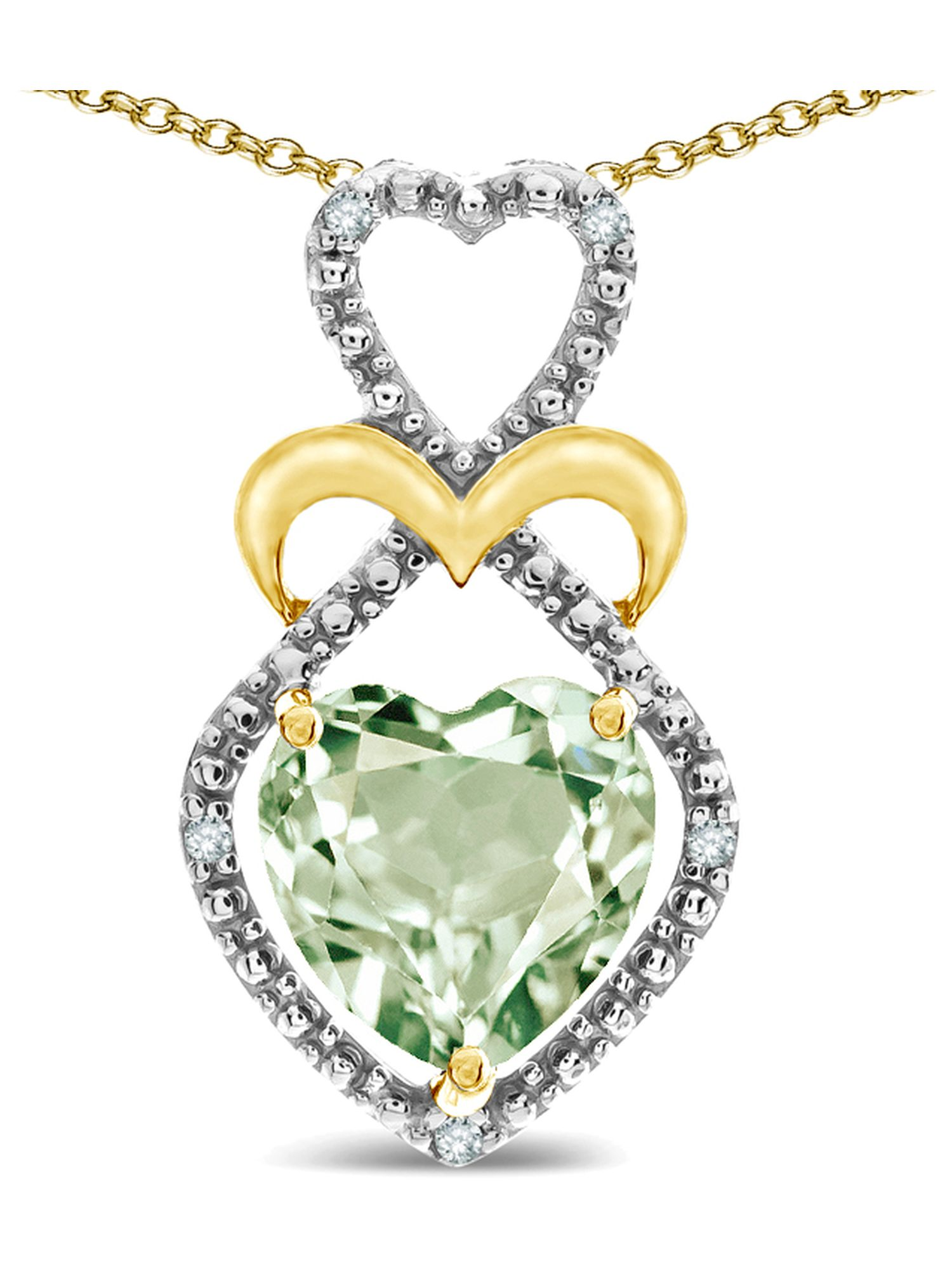 Star K Heart Shape 8mm Genuine Green Amethyst Heart Halo Embrace Pendant Necklace 10k Yellow Gold with Rhodium Finish