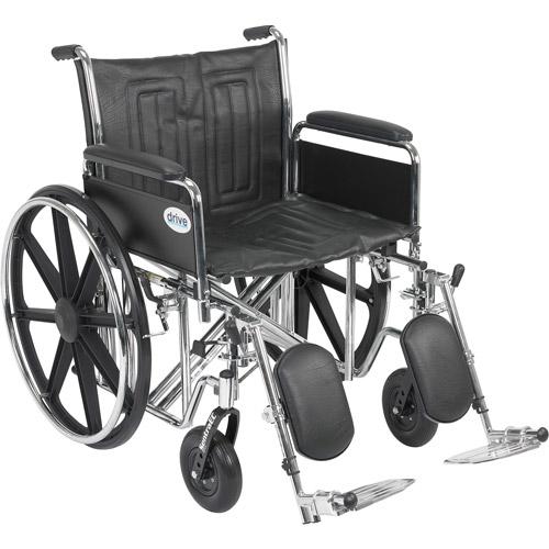 "Drive Medical Sentra EC Heavy Duty Wheelchair, Detachable Full Arms, Elevating Leg Rests, 22"" Seat"
