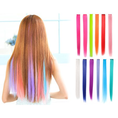 OneDor 23 Inch Straight Colored Party Highlight Clip on in Hair Extensions Multiple