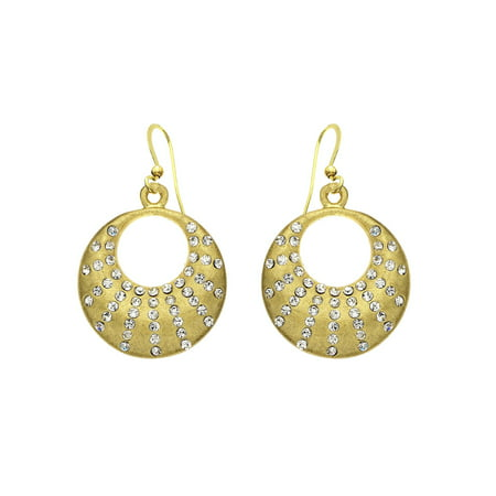 Gold Tone Crystal Crescent Earring