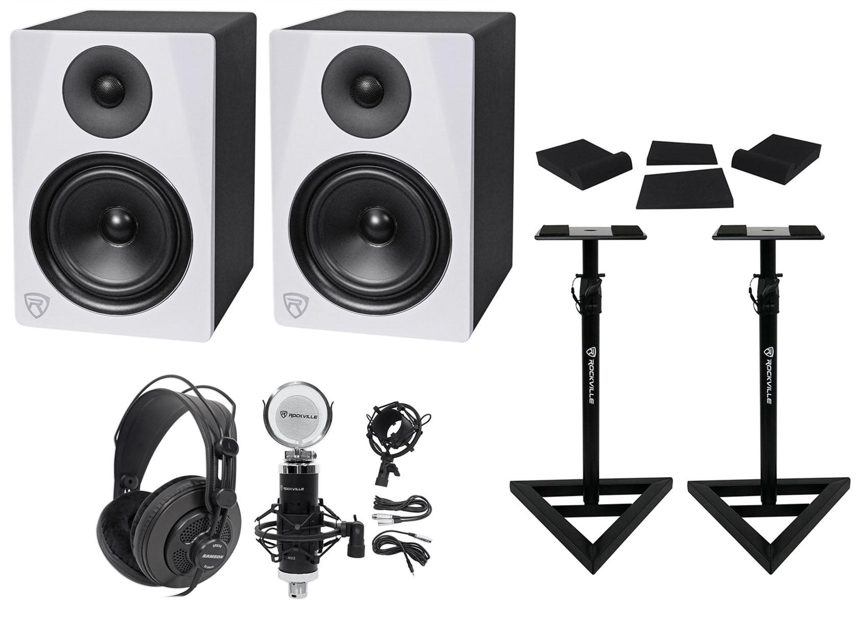 "(2) Rockville DPM6W 6.5"" 420w Dual Active Studio Monitors+Stands+Headphones+Mic by ROCKVILLE"