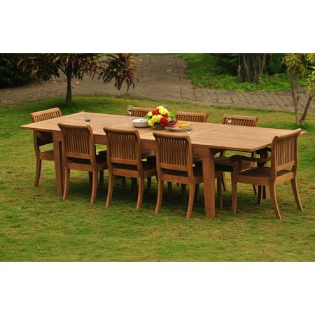 Teak Dining Set: 8 Seater 9 Pc: Large Caranasas 122