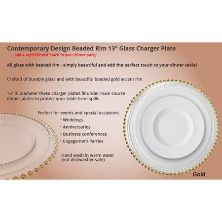 Spectacular Glass Dinnerware Formal 13-Inch Gold Beaded Rim Clear Glass Charger Plate Wedding Party Dinner Modern Appeal Glass Plates -