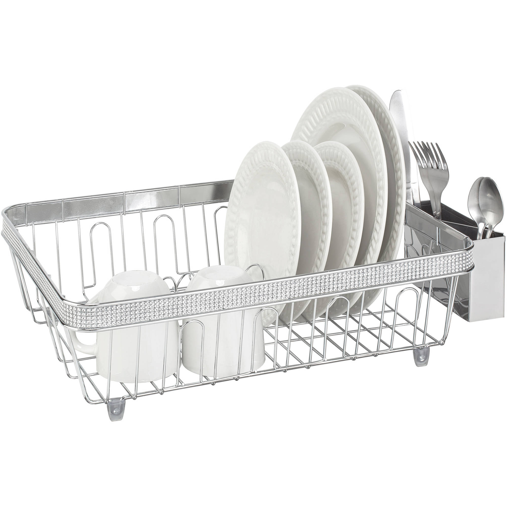 Simplify Dish Rack with Plastic Cup, Chrome Pave Diamond Design
