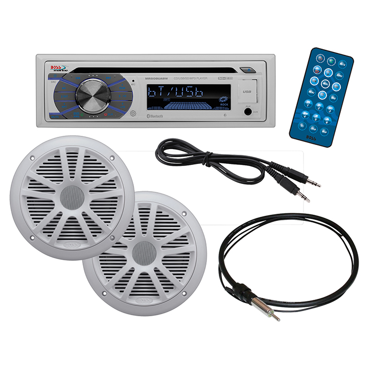BOSS AUDIO MCK508WB.6 Marine Package Includes MR508UABW Single-DIN Marine AM FM CD Receiver; One Pair of 6.5 inch Marine... by Boss Audio