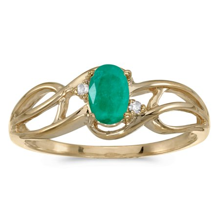 10k Yellow Gold Oval Emerald And Diamond Curve Ring