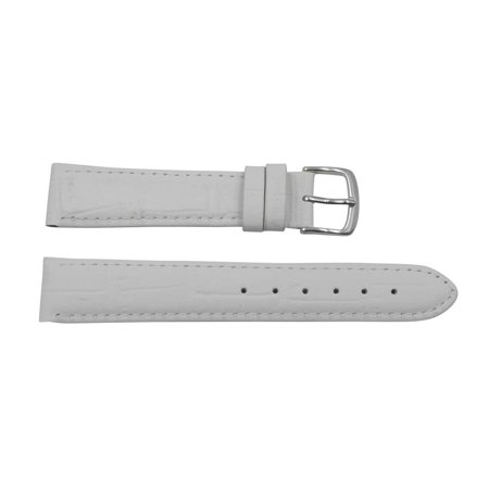 Genuine Leather Alligator Grain 16mm Pastel White Watch - White Genuine Alligator