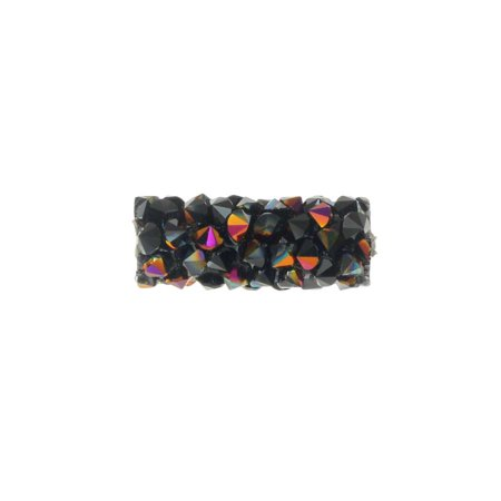 Swarovski Crystal, #5951 Fine Rocks Tube Bead without Metal Ends 15mm, 1 Piece, Jet / Astral