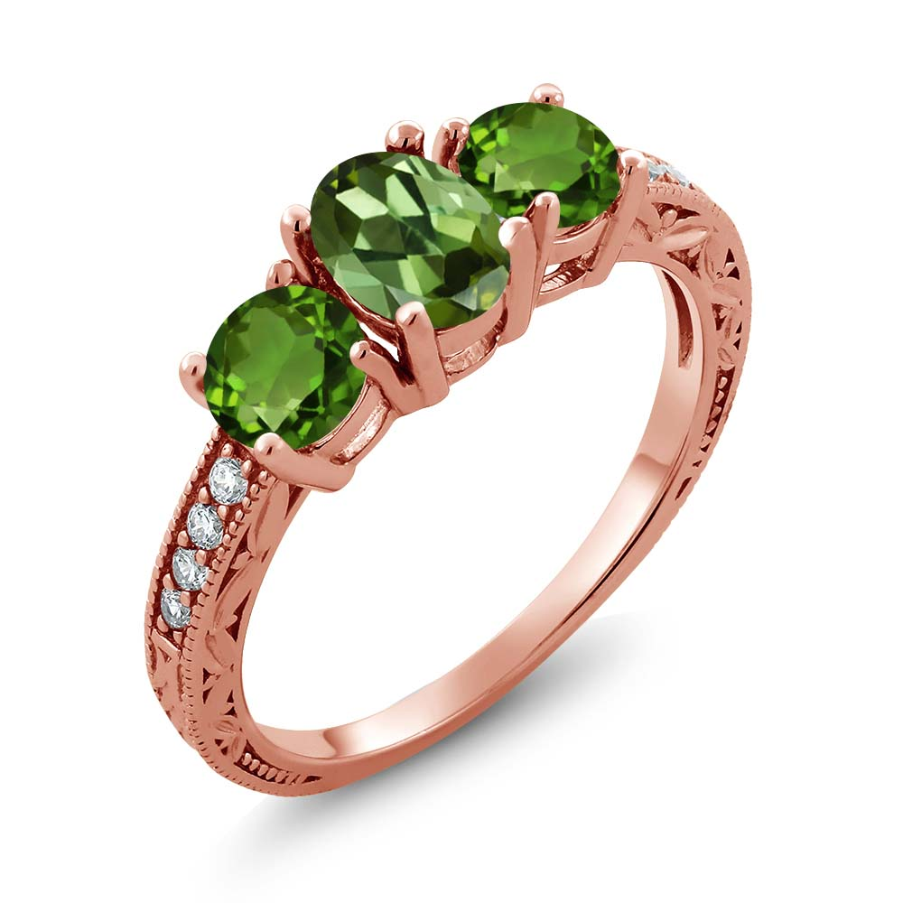 1.82 Ct Oval Green Tourmaline Green Chrome Diopside 18K Rose Gold Ring by