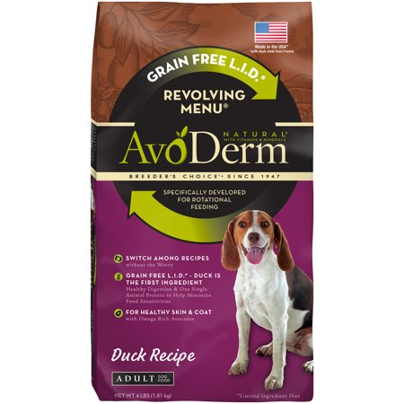 Avoderm Natural (AvoDerm Natural Revolving Menu Adult Dog Food, Duck, 4-Pound )