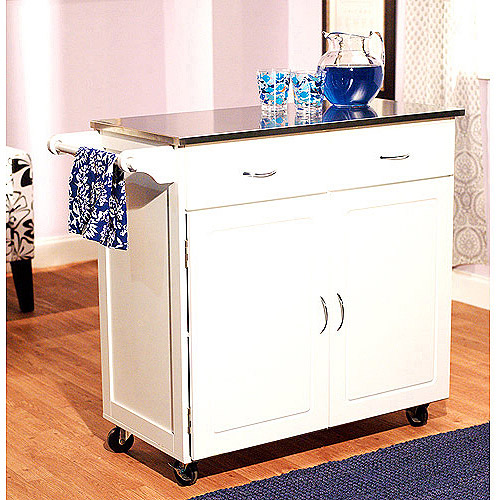 Large Kitchen Cart with Stainless Steel Top, Multiple Colors