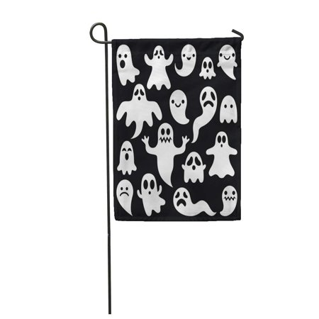 LADDKE Cartoon Scary White Ghosts on Halloween Celebration Graphic Cute Haunted Garden Flag Decorative Flag House Banner 12x18 inch - Halloween Cartoons Scary