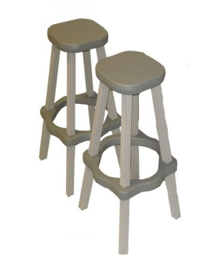 "2) Leisure Accents 26"" Tall Bar Stool Patio Set Outdoor Indoor Gray Beige Pair by Blue Wave Products"