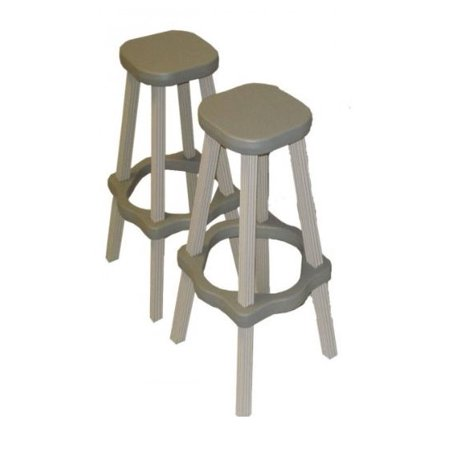 """2) Leisure Accents 26"""" Tall Barstool Patio Set Outdoor Indoor Gray/Beige - Pair"""