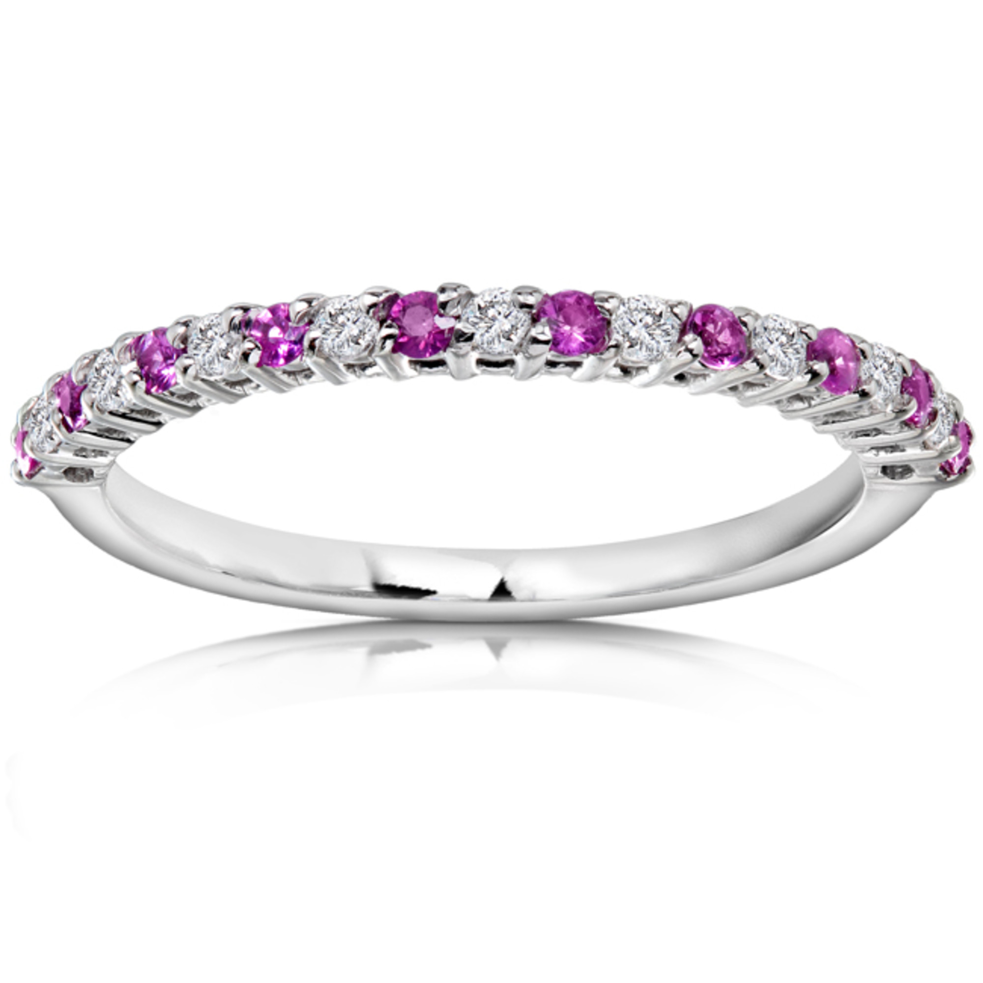 Diamond and Pink Sapphire Band 1 4 CTW in Platinum by