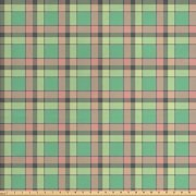 Vintage Fabric by The Yard, Continuous Tartan Pattern with Checkered Squares in Pastel Colors, Decorative Fabric for Upholstery and Home Accents, by Ambesonne