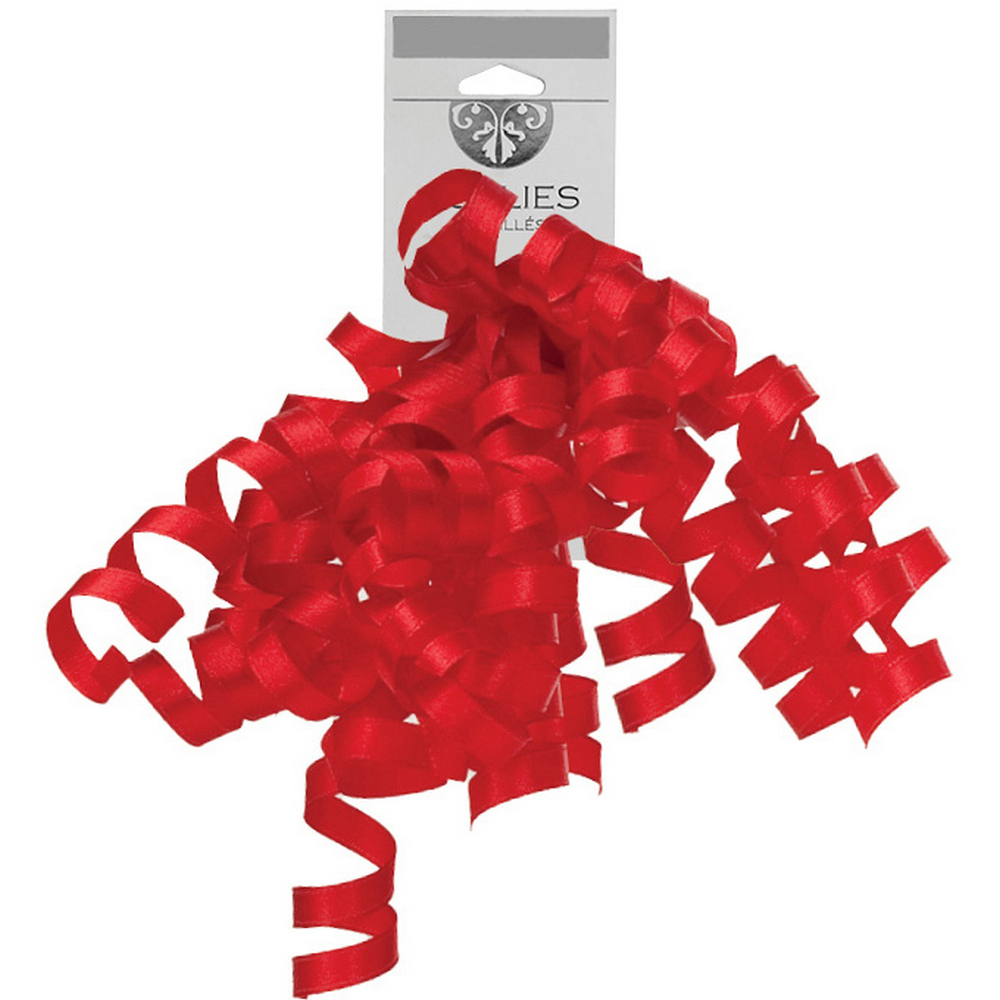 JAM Paper Grosgrain Curly Gift Bows, Red, 120/pack