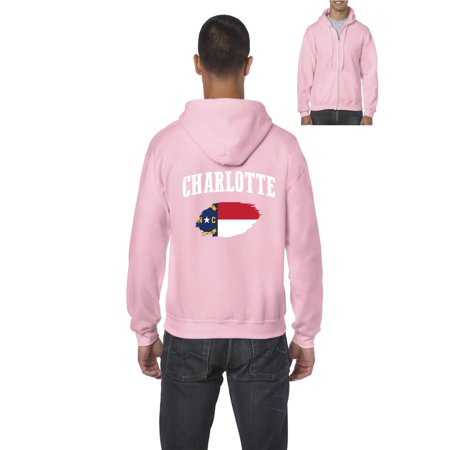 Charlotte North Carolina Men's Full-Zip Hooded Sweatshirt