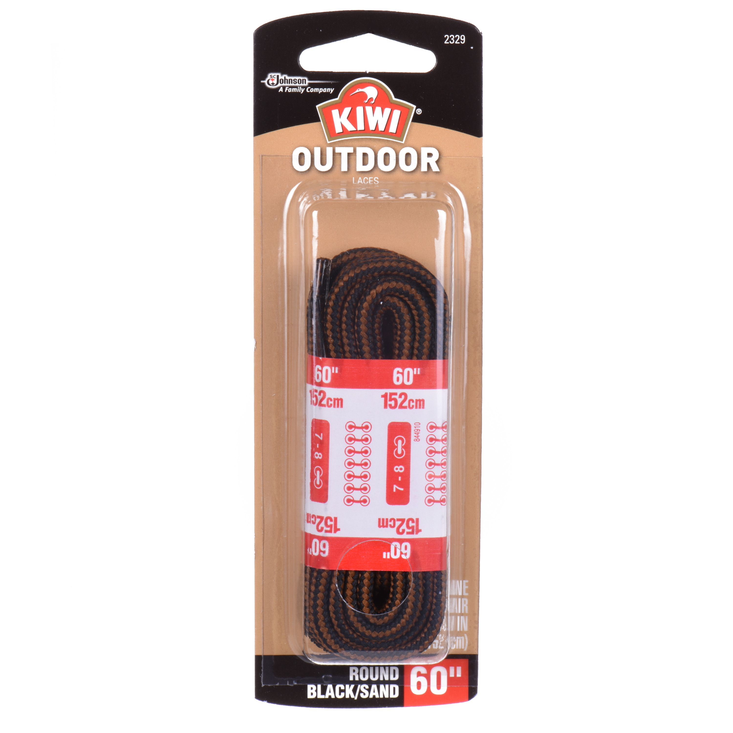 "(2 Pack) KIWI Outdoor Round Laces Black/Sandstone 60"" 2 pairs"