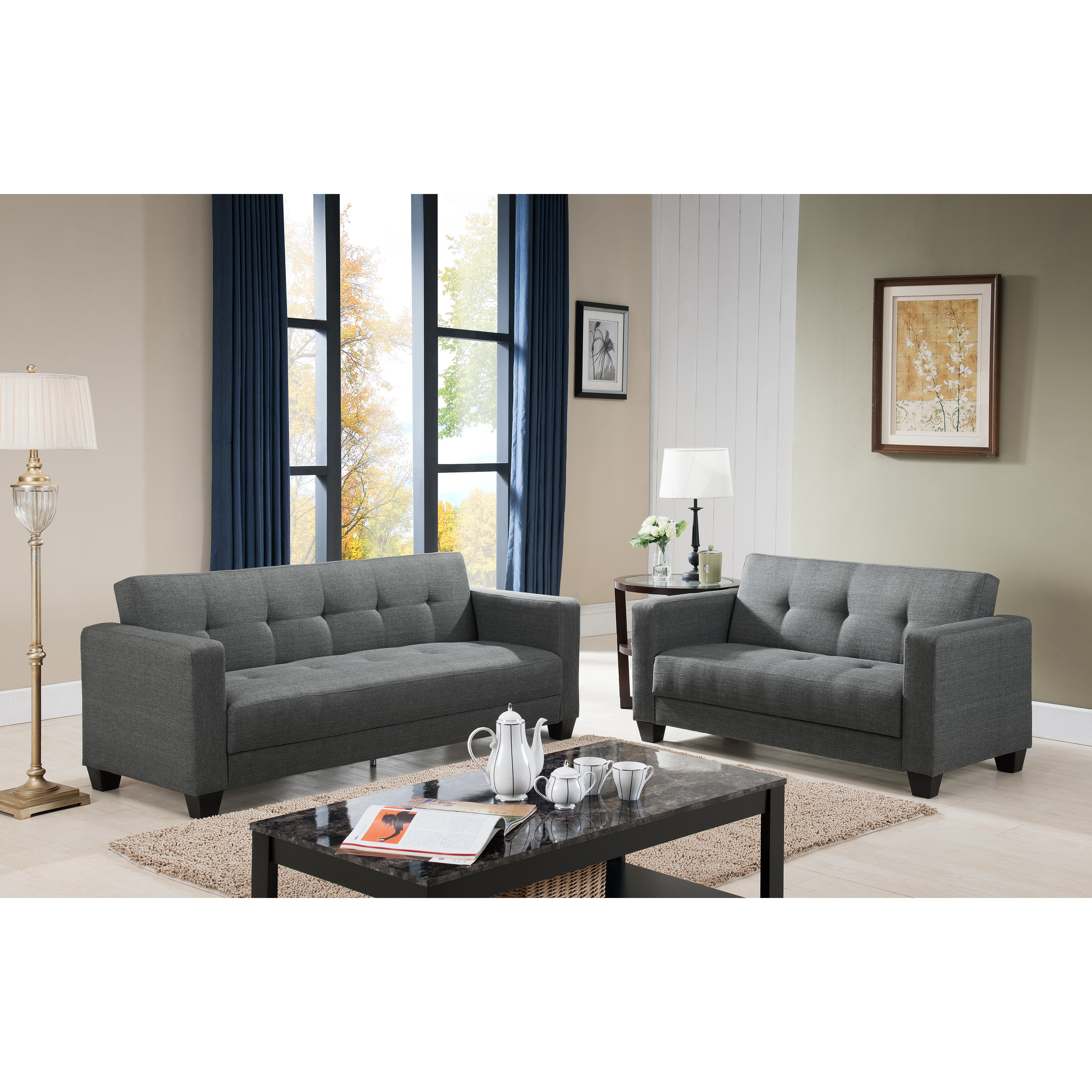 US Pride Furniture Carly Contemporary 2 piece Fabric Sofa