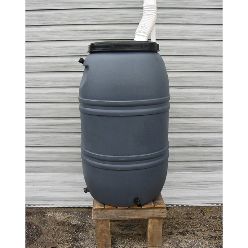 Upcycle 55 Gallon Gray Rain Barrel