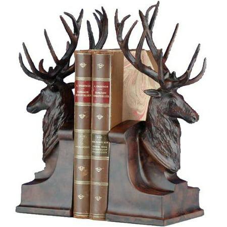 Deer head with large antlers bookends - Deer antler bookends ...