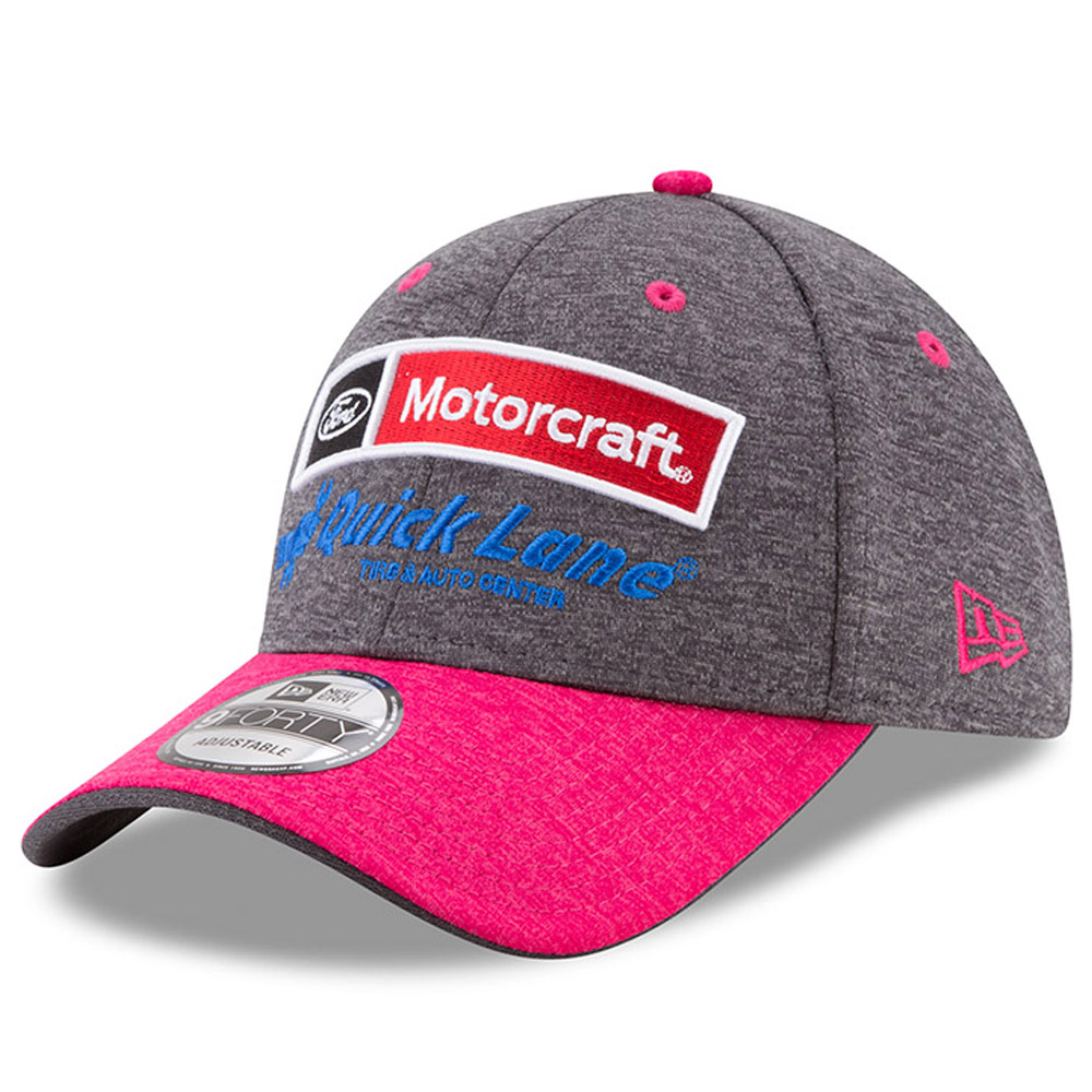 Ryan Blaney New Era Motorcraft 2017 Breast Cancer Awareness 9FORTY Adjustable Hat - Graphite/Pink - OSFA