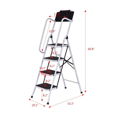 2 In 1 Non-slip 4 Step Ladder Folding Stool w/ Handrails and Tool Pouch Caddy