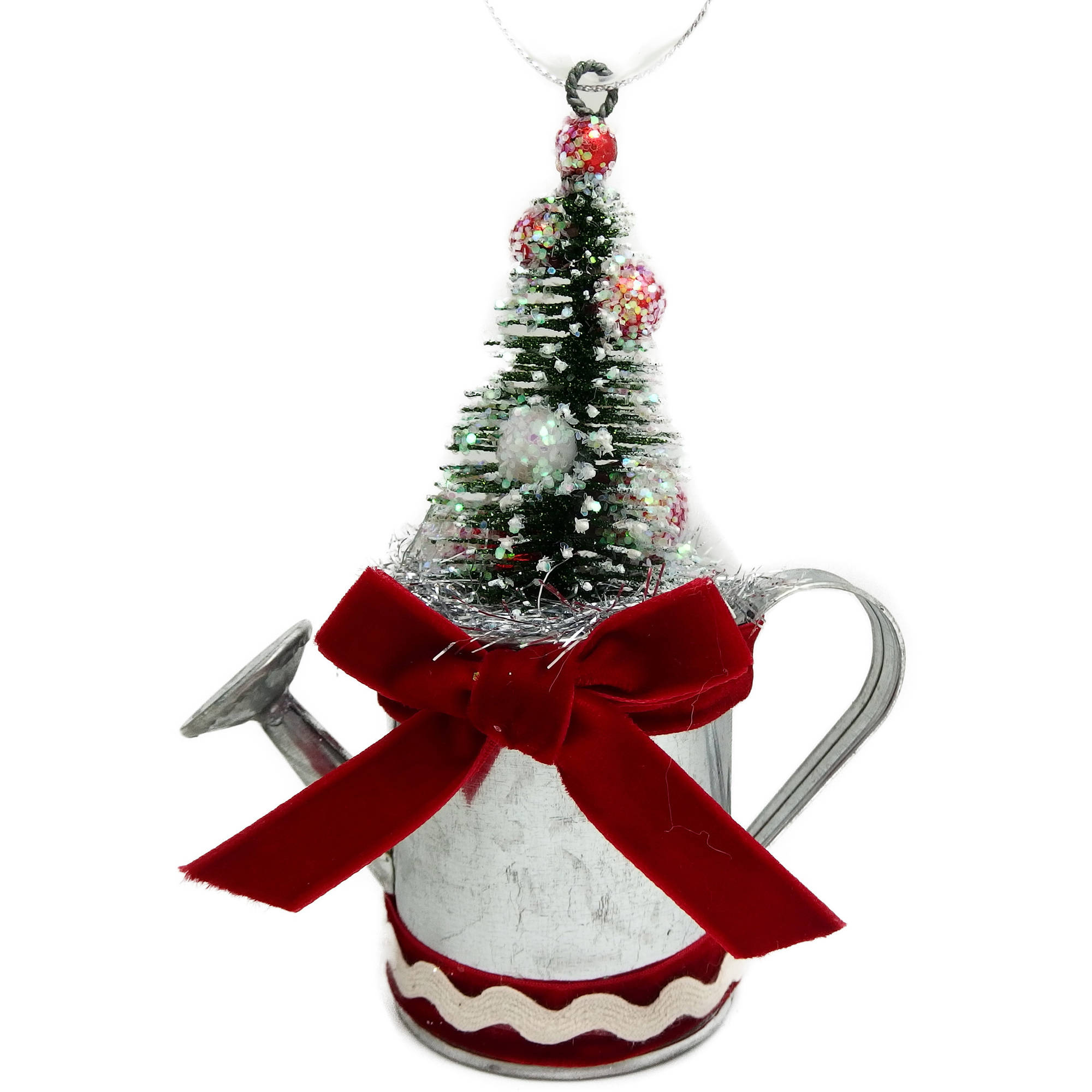 Holiday Time Christmas Ornaments 6-Piece Silver Watering Can Ornament