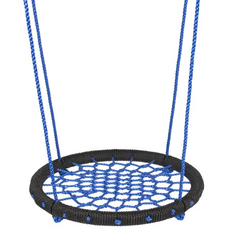 - Best Choice Products 24in Round Web Swing Set w/ Nylon Net Rope for Backyard, Front Yard Tree Hanging, Outdoor Play, Playground - Blue/Black